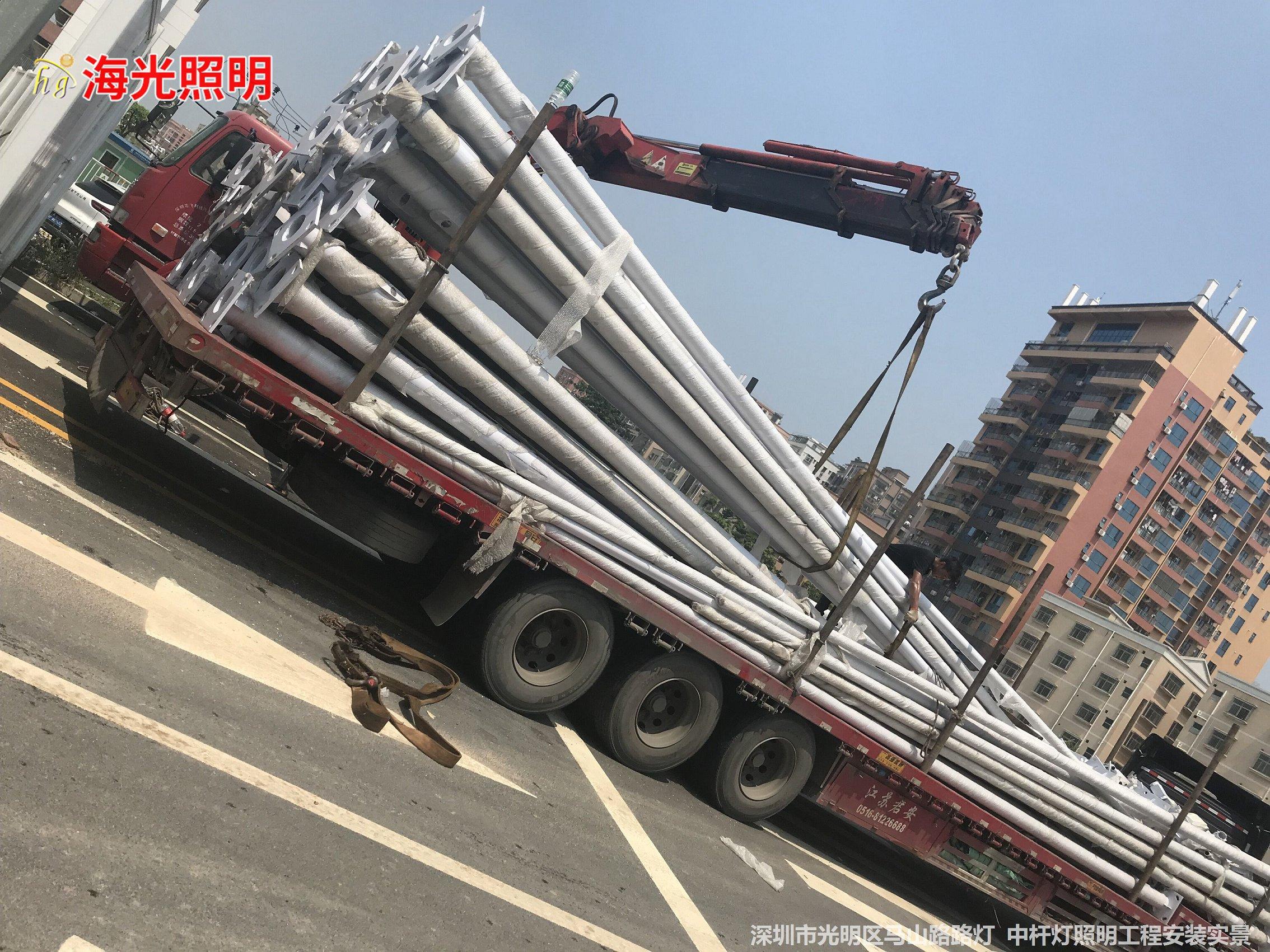 深圳市光明区马山路街道10米、12米高低臂路灯 15米中杆灯照明工程